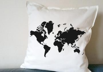 Kussenhoes - Wereldkaart