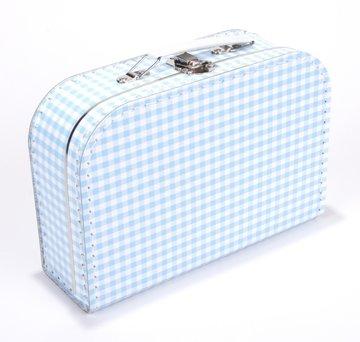 Koffertje 25 cm Geruit Lichtblauw/Wit
