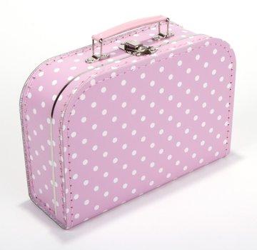 Koffertje 25 cm Roze/Wit stippen