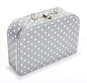 Koffertje 25 cm Zilver/Wit stippen