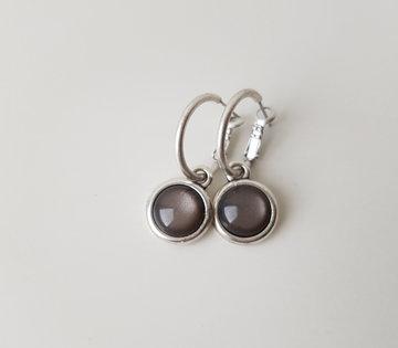 Hip & Chique oorbellen - donker grijs - small
