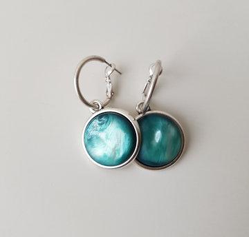 Hip & Chique oorbellen - groen/blauw - large