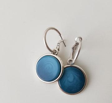 Hip & Chique oorbellen - donker/licht blauw - large - plat