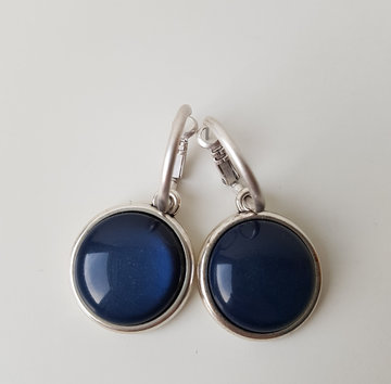 Hip & Chique oorbellen - donkerblauw - large - bol