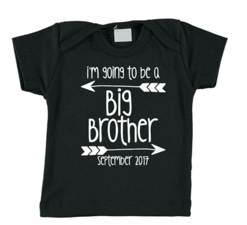 Baby T-shirt - I'm going to be a big brother - met maand van geboorte