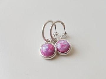 Hip & Chique oorbellen - fuchsia gemarmerd - small