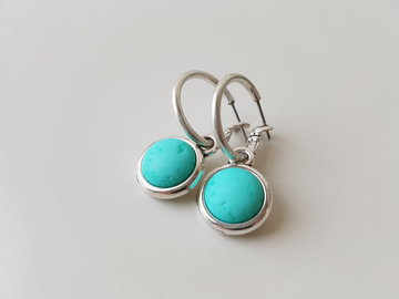 Hip & Chique oorbellen - lava steen turquoise bol - small