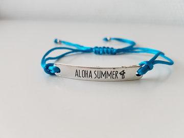 Armband - Aloha Summer - satijnkoord - azuur blauw