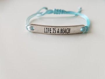 Armband - Life is a beach - satijnkoord - licht blauw