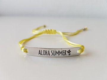Armband - Aloha Summer - satijnkoord - pastel geel