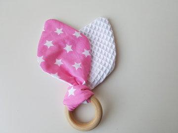 Bijtring - Konijnenoren - wit - roze witte sterren