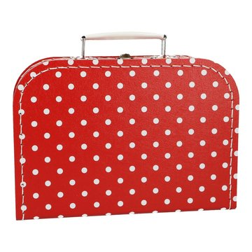 Koffertje 25 cm Rood/Wit stippen