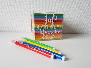 Memo kubus - Juf/Meester bedankt voor het kleurrijke schooljaar