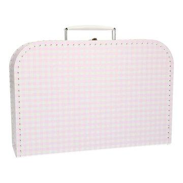 Koffertje 30 cm roze geruit