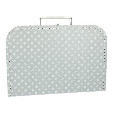 Koffertje 30 cm grijs ster