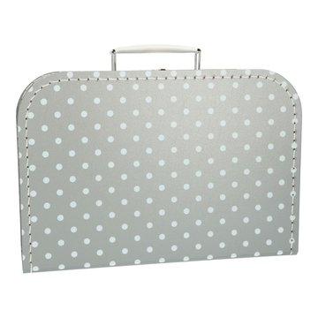Koffertje 30 cm grijs stip