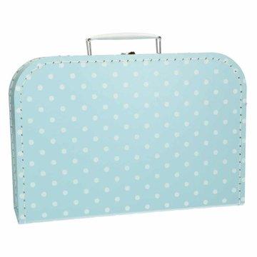 Koffertje 30 cm lichtblauw stip