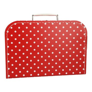 Koffertje 30 cm rood stip