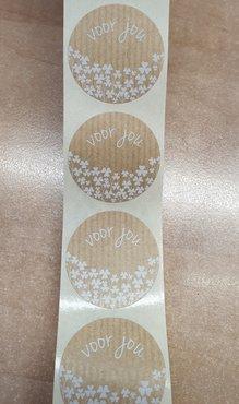 Sticker - voor jou - kraft met witte opdruk - (5 stuks)