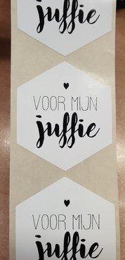 Sticker - voor mijn juffie - wit met zwarte - (5 stuks)
