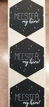 Sticker - meester my hero! - zwart met witte opdruk - (5 stuks)