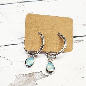 Oorbellen - Loop earring - blauw druppel