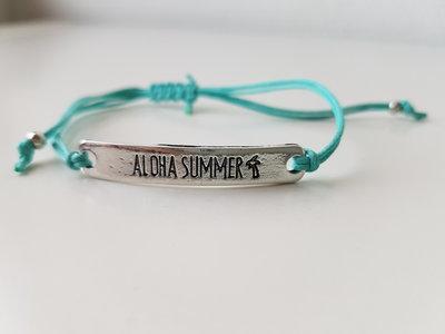 Armband - Aloha Summer - waxkoord - turquoise
