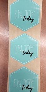 Sticker - enjoy today - mint met wit en zwarte opdruk - (5 stuks)